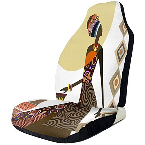 Aztec Patroon Afrikaanse Vrouw Met Vaas Auto Stoelhoezen Universele Auto Voorstoelen Protector Accessoires