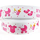 Midi Ribbon It's a Girl Ribbon Single Face Printed Grosgrain Ribbon, 7/8' x 10 Yards, Baby Girl Ribbon for Baby Shower Birthday Theme Gift Wrapping Diaper Cake Decorations