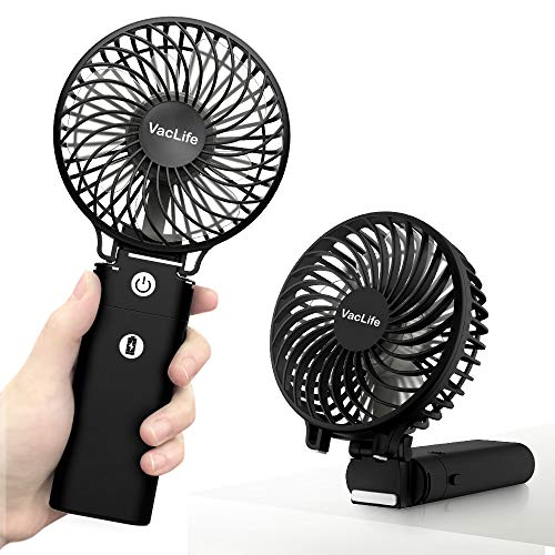 VacLife USB-powered desktop fans Rechargeable maximum operating time 35h Portable electric fans 180 degree foldable Handheld 3 step adjustment Dual function compact fan 5200mAh With mobile battery Power bank