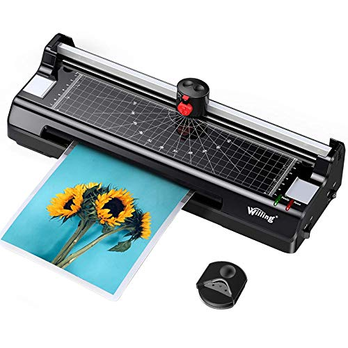 Willing A4 Laminator Machine, Thermal Laminator Advanced Never Jam Technology, Hot&Cold, 3min Warm-up, 20 Laminating Pouches Paper Trimmer Corner Rounder Included for Home School Office Craft Card