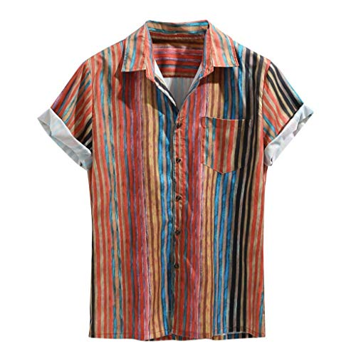Men's Casual Button-Down Shirts, Colorful Stripe Short Sleeve Loose Beach Pocket Fitness Top Red