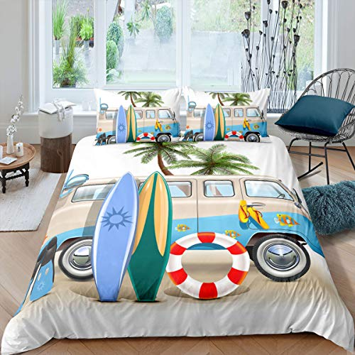 Beach Vacation Theme Bedding Set for Children Kids Boys Girls Beach Coconut Tree Skateboard Motorhome Print Duvet Cover, Modern Travel Microfiber Beds Cover 3 Pcs King Size