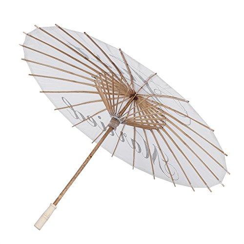 Guarda-chuva de papel, guarda-chuva de casamento, guarda-chuva de noiva portátil com letras para cena de fotografia de casamento (apenas casado)