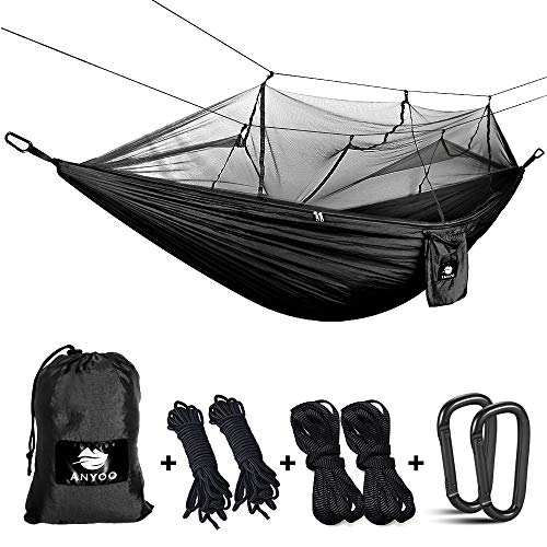 Anyoo Camping Hammock with Net Nylon Parachute Ultra Light Single Hammock for Hiking Backpacking Beach Adventure