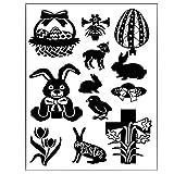 Timbro in silicone Clear Stamps timbro Pasqua fiori coniglio motivi trasparente per Pasqua Natale Capodanno regali
