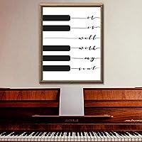 クリスチャンソングプリントそれは私の魂によく合います音楽ポスターピアノキーボードアートキャンバス絵画写真ホームウォールアートの装飾| 45x60cm /フレームなし