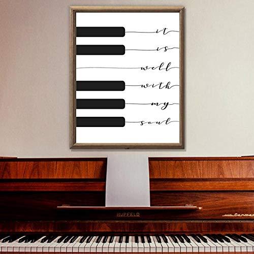 Song Lyric Print Het is goed met Mijn Ziel Muziek Poster, Piano Toetsenbord Kunst Canvas Schilderij Foto Thuis Muur Art Decor 60x90cm geen Frame