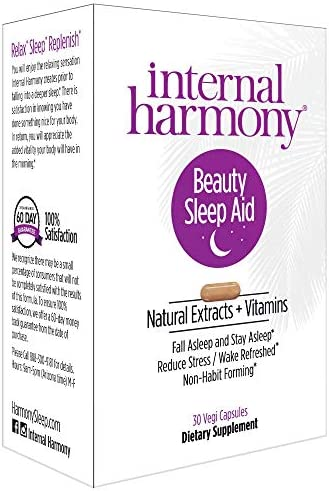 Internal Harmony Beauty Sleep Aid Supplement for Women with Vitamin D3, Melatonin, 5-HTP, Chamomile, Vitamin B12, Magnesium, Black Cohosh and Natural Herbal Extracts – Reduce Stress and Sleep Better