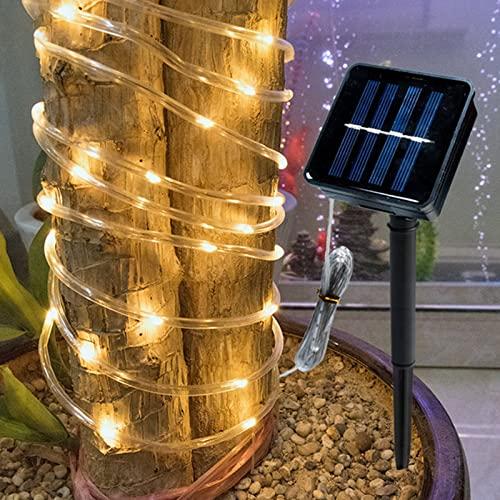 Lámpara de tubo de neón solar, luces de cadena de cuerda de hadas, LED al aire libre Luz IP66 impermeable 8 MODO , Día de Navidad Lámpara decoración jardín (Luz de color, 7m50 Lámpara)