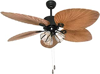Tropical Style Prominence Home 41301 Bali Breeze Ceiling Fan with Remote Control Artisan Hand-Carved Wooden Blades Bronze 52
