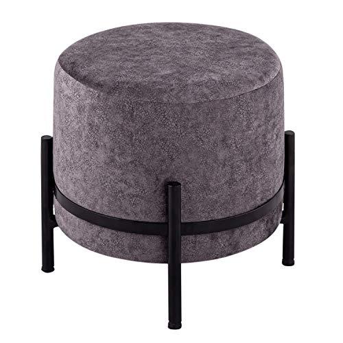 casamia Sitzhocker Wildleder-Optik Pouf Sitzpouf Ø 35 H 37 cm Sitzpouf mit Eisengestell schwarz matt Farbe stonegrey