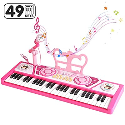 BAOLI 49 Keys Piano Keyboard Toy with Microphone for Beginners, Multifunctional Musical Instruments for Kids, Electronic Teaching Keyboard Toys Piano Gifts for 3 4 5 6 7 Years Old Girls Boys