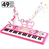 BAOLI 49 Keys Piano Keyboard Toy with Microphone for Beginners, Multifunctional Musical Instruments for Kids, Electronic Toys Piano Keyboard Gifts for 3 4 5 6 7 Years Old Girls Boys
