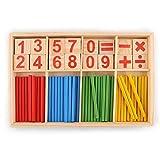 JER Número 1 Ajuste los Palillos de Madera Número Montessori Tarjetas y la Cuenta del Juguete Educativo Varillas con la Caja Colorida para los niños del Cabrito Los niños pequeños