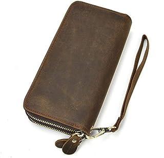 Men's Clutches Men's Wallets Leather Double Zip Wallets Leather Handbags Retro Mobile Wallets (Color : Beige, Size : One s...