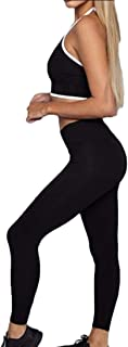 Women Yoga Tight Jogger Halter Two-Piece Sets Cami Tops Outfits Tracksuits