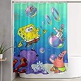 LIUYAN Duschvorhang mit Haken – Spongebob Schwammkopf Wasserdichter Polyester-Stoff Badezimmer-Dekoration 152,4 x 182,9 cm