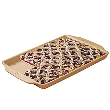 Haeger Large Bar Stoneware, Cookie Sheet, Jelly Roll Pan, with Handy Grip Handles 10.5 in x 15.75 in x.87 in