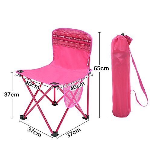 Portable Chair Outdoor Plein Vissen Klapstoel Strand Wandelen Picknick rugleuning Zitting met Backpacken, 37 * 65CM 421 (Color : Rose red)