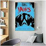 wzgsffs Jaws Poster Shark Classic Horror Movie Posters E Impresiones Arte De La Pared Impresión En Lienzo para La Sala De Estar Dormitorio del Hogar-24X32 Pulgadas X 1 Sin Marco