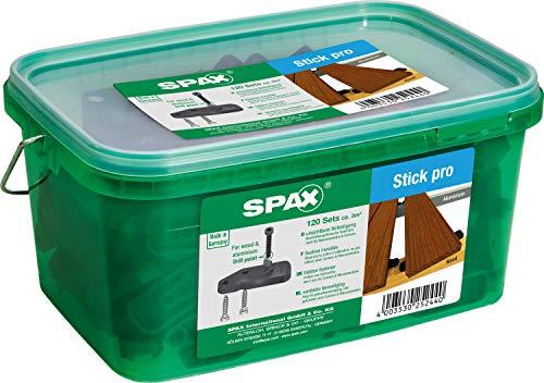 SPAX Stick pro, unsichtbare Terrassenbefestigung auf Holz und Aluminium, 120 Sticks, inklusive Zylinderkopfschrauben für ca. 3 m², schwarz – 4009422556639