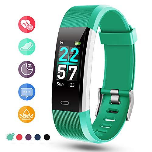 Glymnis Fitness Armband Fitness Tracker IP68 Wasserdicht Smartwatch Farbbildschirm Pulsuhren Aktivitätstracker und Schrittzähler mit Pulsmesser 0,96 Zoll für Damen Herren (Grün)