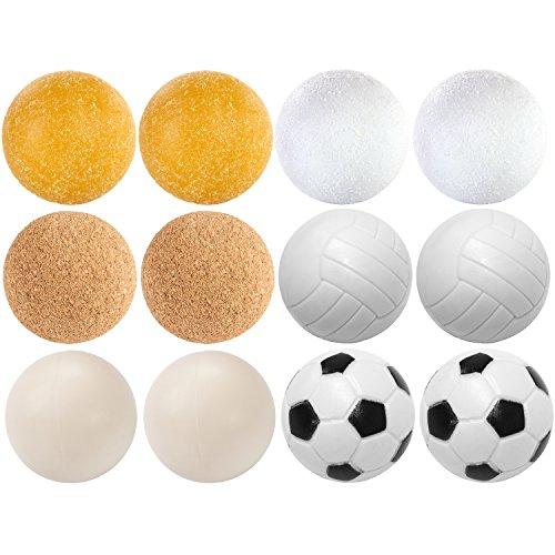 Maxstore Kicker Bälle Mischung, 12 Stück, 6 unterschiedliche Sorten (Kork, PE,PU, ABS), Durchmesser 35mm, Tischfussball Kickerbälle, Ball