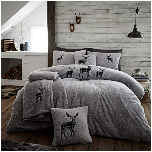 Gaveno Cavailia Premium Stag Embroidery Teddy Fleece Duvet Set with Matching Pillowcases, Fluffy Thermal Quilt Cover, Super Soft & Cosy Bed Linen, Charcoal, Kingsize Bedding