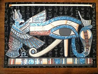 Hand painted in Egypt Natural Papyrus painting, Eye of Horrus that glow in the dark. Size 12