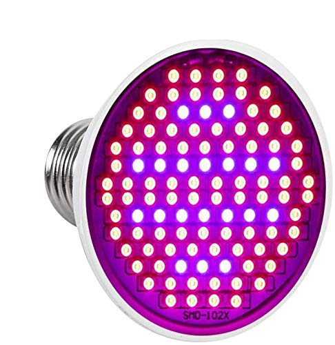 lámpara de crecimiento, 200 LED iluminación luz de planta 24 W E27 Espectro Completo para Plantas de Interior para Conseguir Crecimiento y floración lámpara de cultivo para jardín