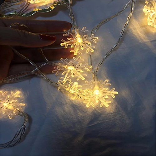 YUGHGH Christmas Lights Outdoor,10 LED Waterproof Solar Christmas Snowflake String Lights for Christmas Tree, Party, Wedding, Fence, Patio Xmas Dcor,Not Included Battery