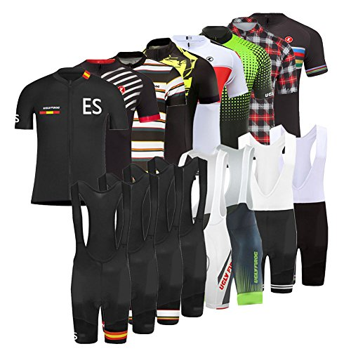 Uglyfrog MTB Ciclismo Maillot, Hombres Jersey + 20D Pantalones Cortos Babero Mangas Cortas de Ciclismo Ropa Maillot Transpirable para Deportes al Aire Libre Ciclo Bicicleta