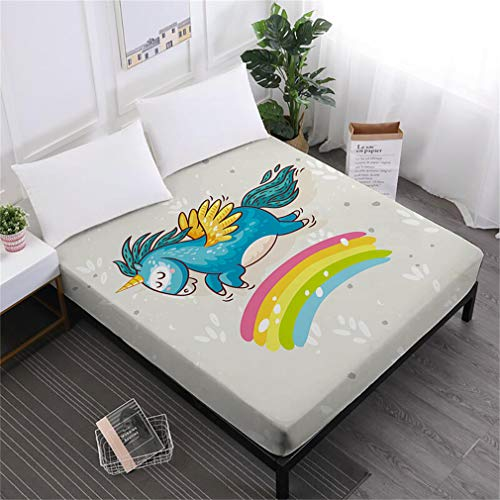 Unicorn Series Bed Sheets Cute Cartoon Print Fitted Sheet Girls Kids Sweet Sheets 100% Polyester Mattress Cover Home Decor DCL-AS65 Full