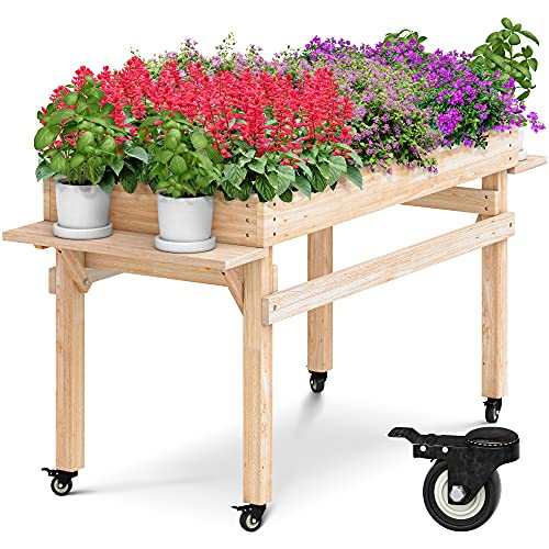 Raised Garden Bed Planter Box with Wheels and Fold Down Shelves by OMISHOME   Elevated Planter Box for Outdoor Use   Sturdy 2021 Design
