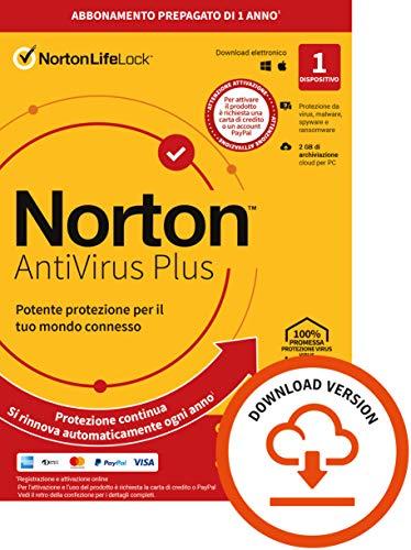 Norton Antivirus Plus 2021, Antivirus per 1 Dispositivo, Licenza di 1 anno con rinnovo automatico, PC o Mac, Codice d'attivazione via email