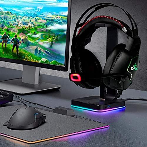 YEYIAN Auriculares Gaming Vicious 3000, RGB, con adaptadores múltiples, ergonómico, Sonido Alta fidelidad, micrófono, acto para PS4, PS5, Xbox, Xbox One (Negro)