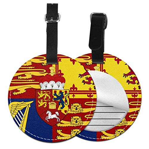 Prince of Wales Flag Round Luggage Id Tag Stylish Luggage Tags Label Suitcase Carry-on Baggage Bags Travel Accessory