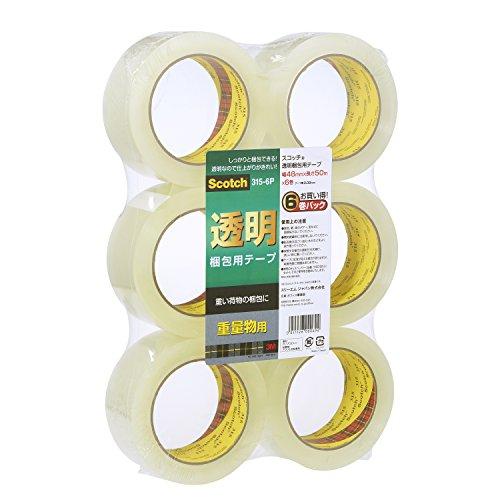 3M スコッチ ガムテープ 梱包テープ 重量用 48mm×50m 6巻パック 315-6P