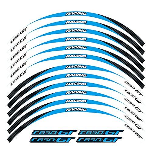 bazutiwns Etiqueta engomada de la decoración de la Rueda de la Motocicleta RAZÓN Rave REFLEXIBLE Compatible con BMW C650GT HSLL (Color : 16)