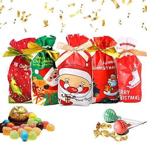50 Pezzi,Natalizie Biscotto Caramella Borsa,Natale Bustine Regalo,Natale Assortiti Sacchetti Regalo,Capodanno Sacchetti Regalo,Sacchetti Regalo di Natale,Natale Sacchetti Confezione.(Rosso)