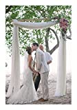 White Arch Drapes 2 Panels 6 Yards Sheer Backdrop Curtains for Parties Ceiling Wedding Arch Reception Drapery Fabric Decor