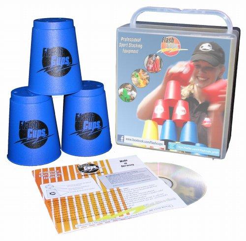 Flash Cups 1001 - Speed Stacking: FlashCups (12 Stk., Blau) mit Lunchbox+DVD