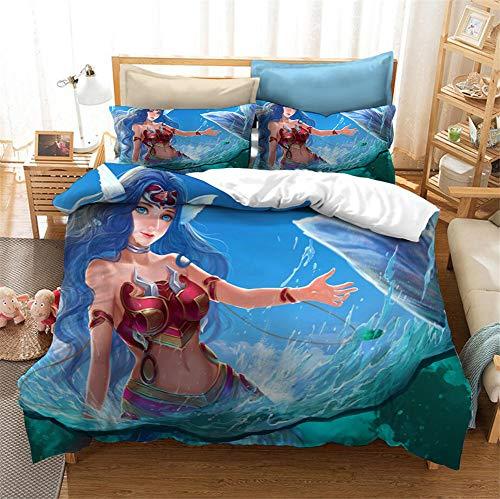 GDGM Juego de ropa de cama para niña, 3D, microfibra, Ariel Juego de funda nórdica y funda de almohada (155 x 220 cm)