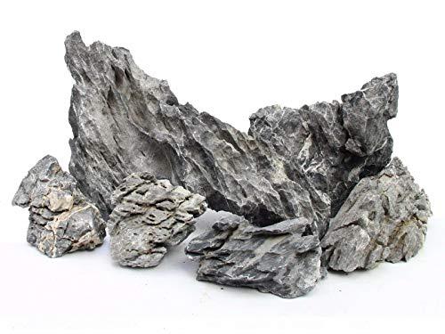 Grauer Bergfelsen-Stein für Aquarium, 5 kg, Iwagumi Stil, Set bestehend aus Steinen für das Gestalten von Aquarienlandschaften