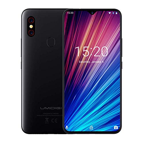 "UMIDIGI F1 Play Smartphone Libres Android 9 Pie Teléfono Inteligente Dual SIM 6.3"" FHD + 6GB RAM 64GB ROM Teléfono móvil 48MP + 8MP Cámara 5150mAh Batería 18W Carga rápida [Negro]"