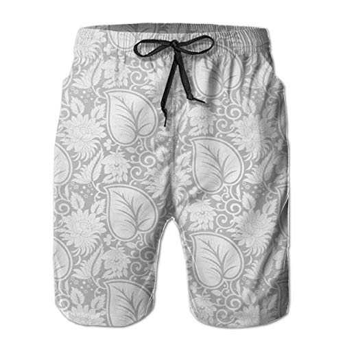 Men's Big and Tall Swim Trunks Beachwear Drawstring Summer Holiday,Big Leaves on Old Fashion Floral Background Feminine Dramatic Style Retro Graphic Print,3D Print Shorts Pants,Medium