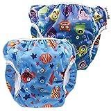 fakiku Traje De Baño De Pañal Para Niños (0-36 Meses),pañal Bañador, Ajustable, Lavable Y Reutilizable, Para Piscina Y Mar, 2 Unidades, Pañal De Natar Pantalones De Entrenamiento