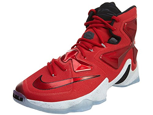 Nike Men's Lebron XIII Unvrsty Red/White/Blk/Lsr Orng Basketball Shoe - 8.5 D(M) US