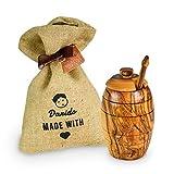 Darido Honigtopf Olivenholz | Handgefertigtes Set Honigbehälter mit Deckel und Honiglöffel Olivenholz | Behälter für gesunde und langlebige Lebensmittel Ausgefallenes Honig Geschenkset