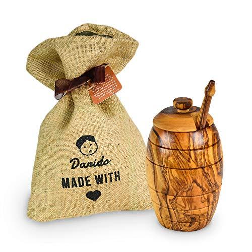 Darido Honigtopf Olivenholz   Handgefertigtes Set Honigbehälter mit Deckel und Honiglöffel Olivenholz   Behälter für gesunde und langlebige Lebensmittel Ausgefallenes Honig Geschenkset